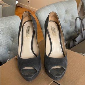 Prada Grey Suede Peeptoe Pumps. Size 38
